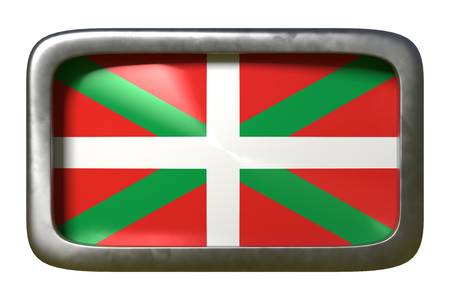 3d rendering of a Basque Country spanish community flag on a rusty sign isolated on white background Stock Photo - 124049601