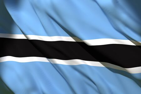 3d rendering of a Botswana national flag waving