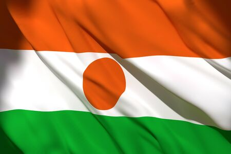 3d rendering of a Republic of Niger national flag waving Stock Photo