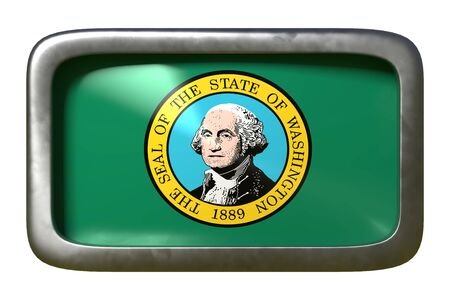 3d rendering of a Washington State flag plate isolated on white background