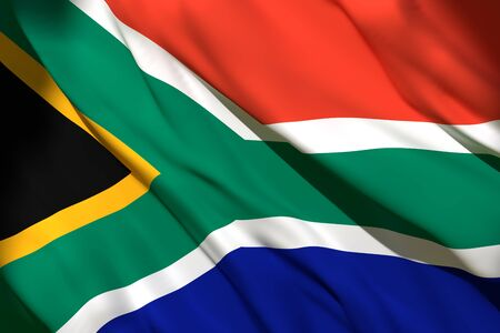 3d rendering of a South Africa national flag waving