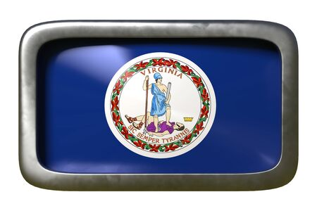 3d rendering of a Virginia State flag plate isolated on white background