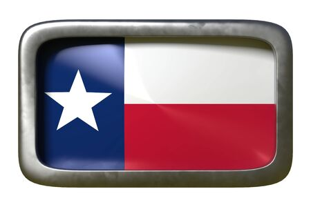 3d rendering of a Texas State flag plate isolated on white background Stock Photo