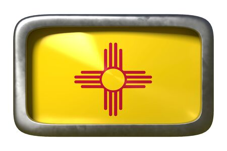 3d rendering of a New Mexico State flag plate isolated on white background Stock Photo
