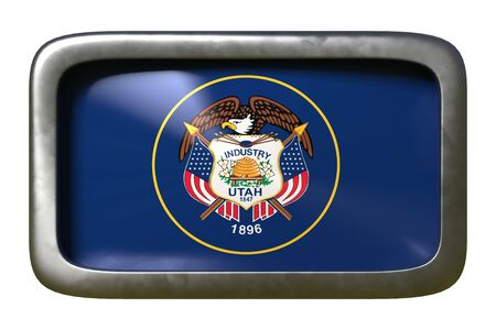 3d rendering of an Utah State flag plate isolated on white background 版權商用圖片