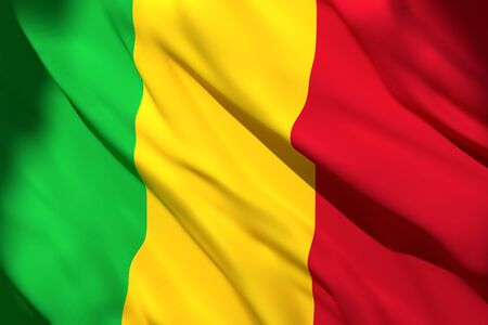 3d rendering of a Mali national flag waving