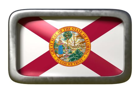 3d rendering of a Florida State flag plate isolated on white background