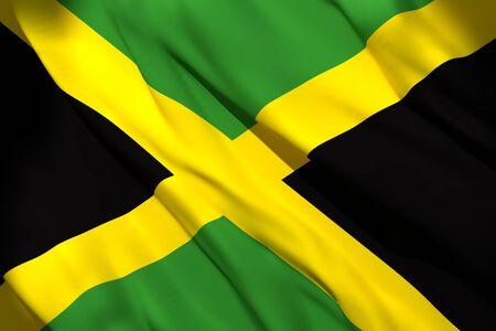 Rendu 3D de brandir le drapeau de la Jamaïque