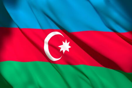 3d rendering of an Azerbaijan national flag waving