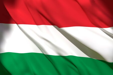 3d rendering of an Hungary national flag waving