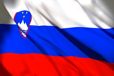3d rendering of a Slovenia national flag waving
