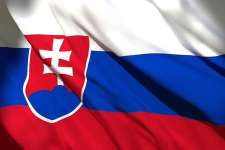 3d rendering of a Slovakia national flag waving Stock Photo