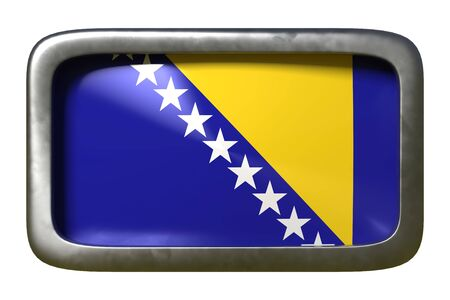 3d rendering of a Bosnia and Herzegovina flag on a rusty sign isolated on white background