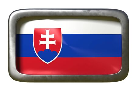 3d rendering of a Slovakia flag on a rusty sign isolated on white background Stock Photo