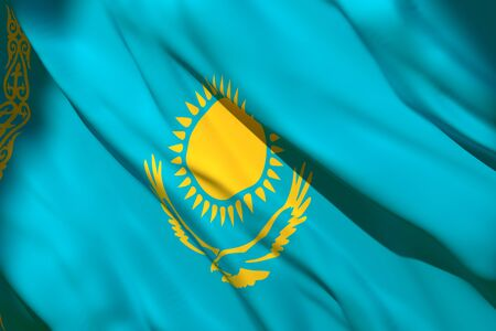 3d rendering of a Kazakhstan national flag waving Stock Photo