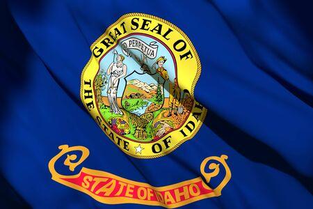 3d rendering of an Idaho State flag silk 写真素材