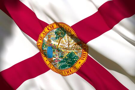 3d rendering of a Florida State flag silk