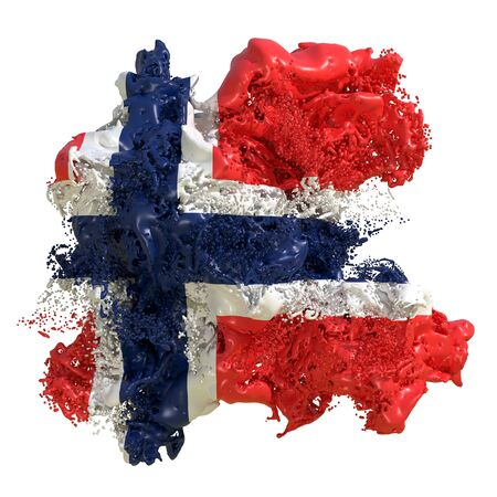 3d rendering of a Norway country flag in a liquid fluid. Isolated on white background