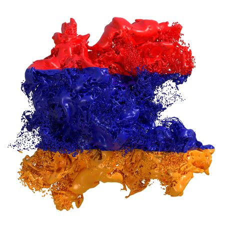 3d rendering of an Armenia country flag in a liquid fluid. Isolated on white background Stock Photo - 126727039