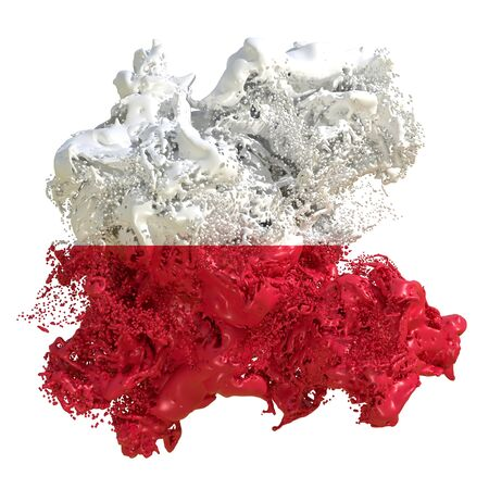 3d rendering of a Poland country flag in a liquid fluid. Isolated on white background