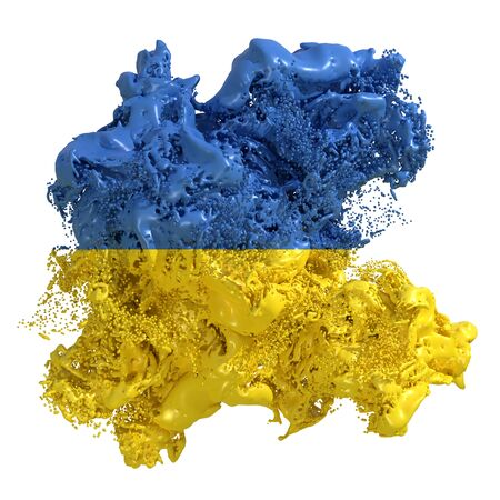 3d rendering of an Ukraine country flag in a liquid fluid. Isolated on white background Stock Photo