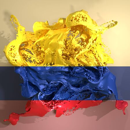 3d rendering of a Colombia country flag in a liquid fluid.