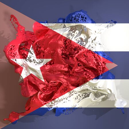3d rendering of a Cuba country flag in a liquid fluid. 写真素材