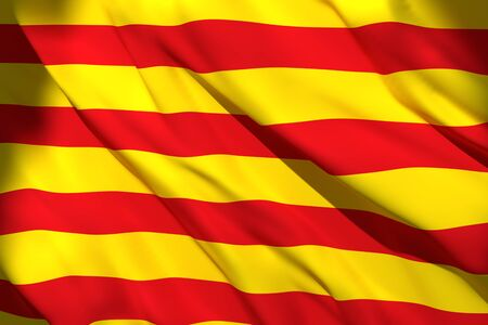 3d rendering of a Catalonia Spanish Community flag