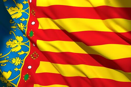 3d rendering of a Valencia Spanish Community flag