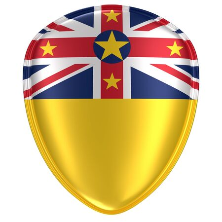 3d rendering of a Niue flag icon on white background.