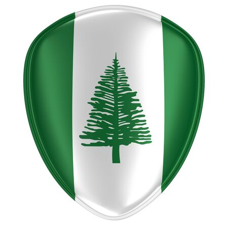 3d rendering of a Norfolk Island flag icon on white background.