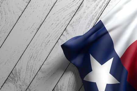 3d rendering of an American Texas State flag on a wooden surface