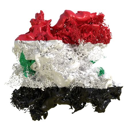 3d rendering of a Syria country flag in a liquid fluid. Isolated on white background Banco de Imagens