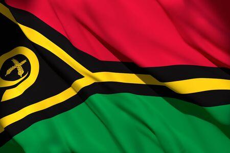 3d rendering of Republic of Vanuatu flag waving Stock Photo