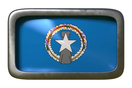 3d rendering of a Northern Mariana Islands flag on a rusty sign isolated on white background