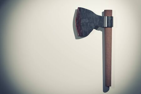 3d rendering of a macabre old axe on white background