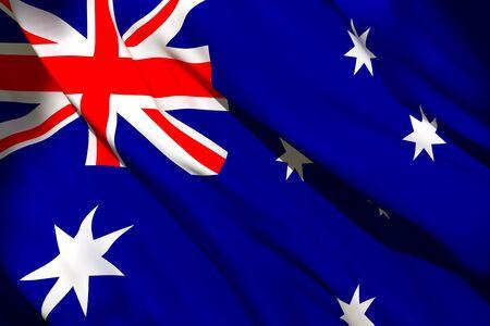 3d rendering of Australia flag waving 写真素材