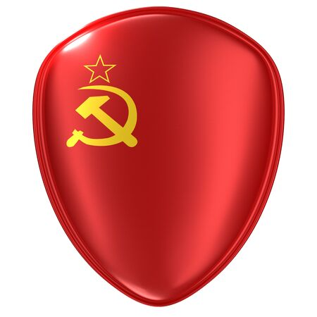 3D-Rendering eines Flaggensymbols der UdSSR auf weißem Hintergrund.