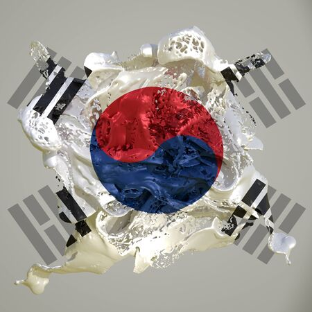 3d rendering of a South Korea country flag in a liquid fluid. Stock fotó