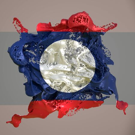 3d rendering of a Laos country flag in a liquid fluid.