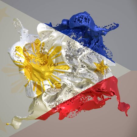 3d rendering of a Philippines country flag in a liquid fluid. Stock fotó