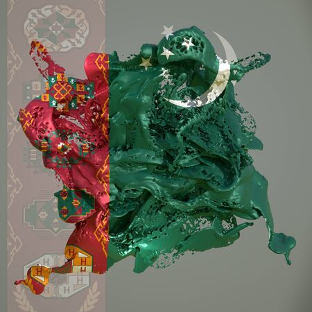 3d rendering of a Turkmenistan country flag in a liquid fluid.