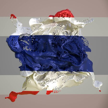 3d rendering of a Thailand country flag in a liquid fluid.