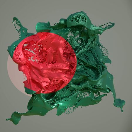 3d rendering of a Bangladesh country flag in a liquid fluid. Stock fotó