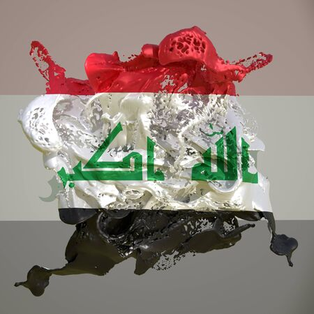 3d rendering of an Iraq country flag in a liquid fluid.