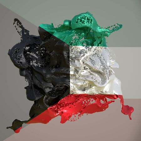 3d rendering of a Kuwait country flag in a liquid fluid.