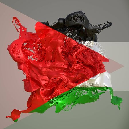 3d rendering of a Palestine country flag in a liquid fluid. Stock fotó