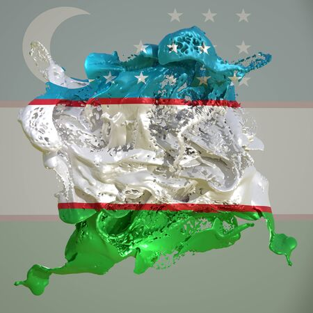 3d rendering of an Uzbekistan country flag in a liquid fluid.