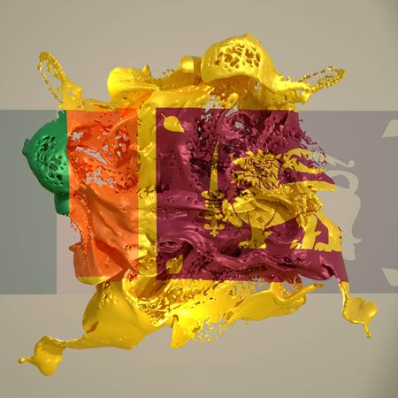 3d rendering of a Sri Lanka country flag in a liquid fluid.