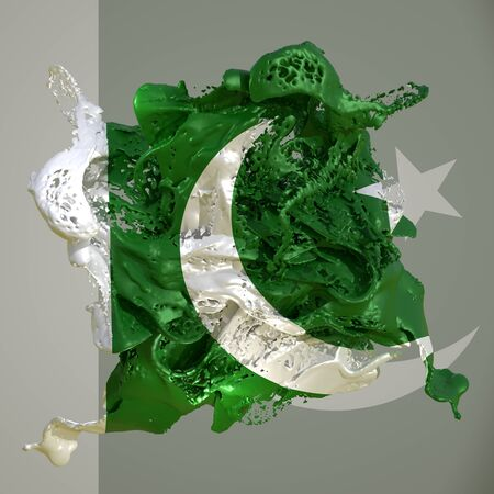 3d rendering of a Pakistan country flag in a liquid fluid. Stock fotó